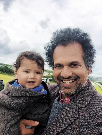 Dad's the word: Manzoor with baby son, Ezra, and left, with six-year-old daughter, Laila