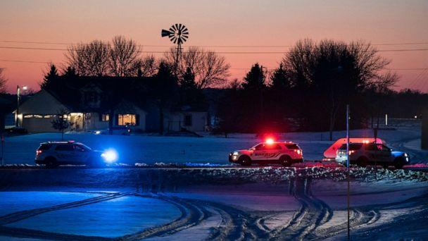 PHOTO: Police block off a road leading to the scene of a Blackhawk helicopter that crashed in the woods neat Marty, Minn., Dec. 5, 2019. (Renee Jones Schneider/Star Tribune via AP)
