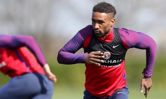 "<span class=""element-image__caption"">Jermain Defoe in training at Tottenham's Enfield complex on Saturday. The Sunderland striker is set to replace Jamie Vardy in England's starting lineup against Lithuania on Sunday.</span> <span class=""element-image__credit"">Photograph: Leicester/BPI/Rex/Shutterstock</span>"