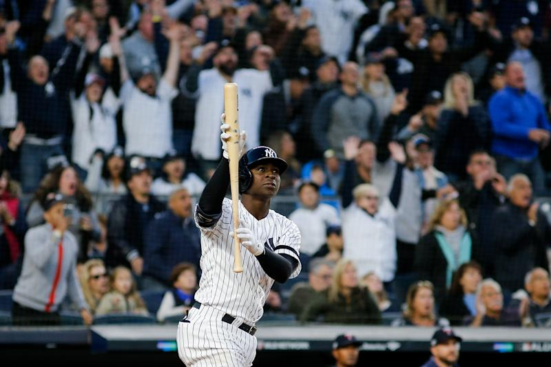 New York Yankees shortstop Didi Gregorius (18) reacts to hitting a grand slam against the Minnesota Twins in the third inning in game two of the 2019 ALDS playoff baseball series at Yankee Stadium. (Andy Marlin-USA TODAY Sports)