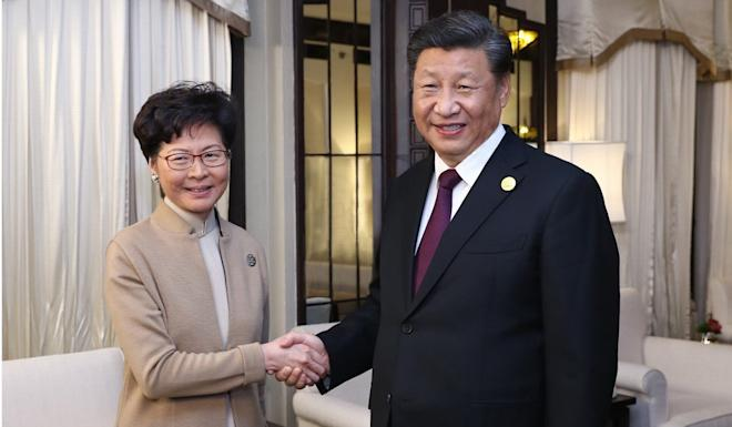 Xi Jinping met Carrie Lam on Monday in Shanghai. Photo: Xinhua