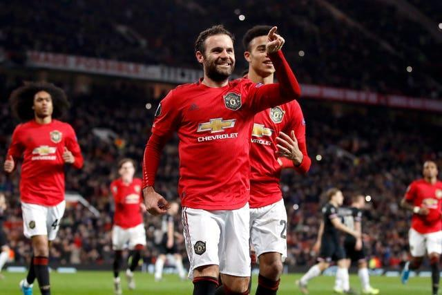 Juan Mata celebrates one of his 50 goals for Manchester United