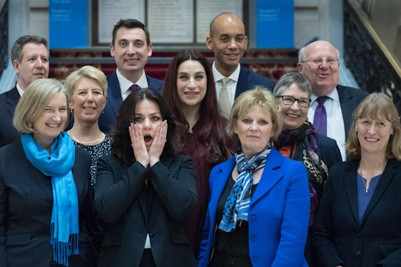 (back row left to right) Chris Leslie, Gavin Shuker, Chuka Umunna and Mike Gapes, (middle row, left to right) Angela Smith, Luciana Berger and Ann Coffey, (front row, left to right) Sarah Wollaston, Heidi Allen, Anna Soubry and Joan Ryan, following a press conference for the Independent Group where the three Conservative MPs, Wollaston, Allen and Soubry, announced their resignation from the party. (Photo by Stefan Rousseau/PA Images via Getty Images)