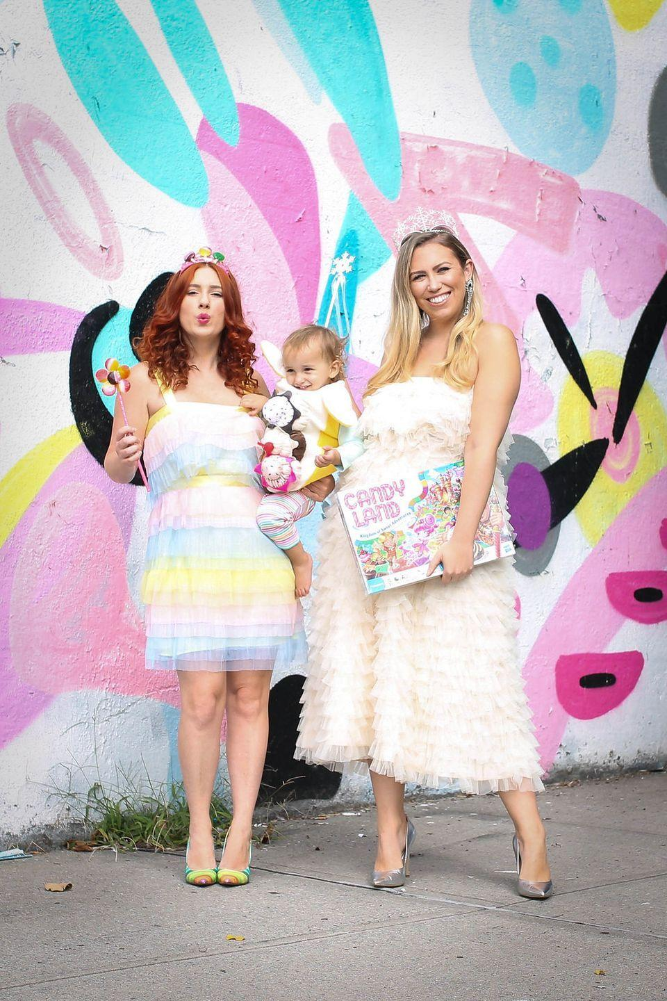 """<p>If your friends played Candyland over and over again as kids, you'll love this nostalgic costume. The third member of the trio was dressed as a sugary sundae, but you can also rock the costume of any other board game favorite. </p><p><a class=""""link rapid-noclick-resp"""" href=""""https://www.amazon.com/Makone-Crystal-Birthday-Wedding-Style-5/dp/B07DGFHY1D/?tag=syn-yahoo-20&ascsubtag=%5Bartid%7C10055.g.28073110%5Bsrc%7Cyahoo-us"""" rel=""""nofollow noopener"""" target=""""_blank"""" data-ylk=""""slk:SHOP CROWNS"""">SHOP CROWNS</a></p><p><em><a href=""""http://livingaftermidnite.com/2018/10/3-nostalgic-halloween-costumes-you-can-pull-together-quickly.html"""" rel=""""nofollow noopener"""" target=""""_blank"""" data-ylk=""""slk:Get the tutorial at Living After Midnite »"""" class=""""link rapid-noclick-resp"""">Get the tutorial at Living After Midnite »</a></em><br></p>"""