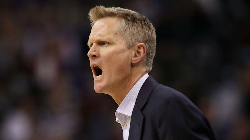 Steve Kerr gets ejected after slamming clipboard on court