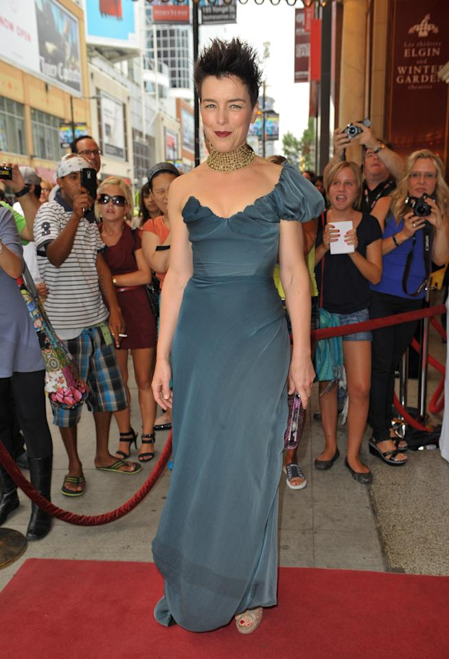 """WORST: Yikes! Olivia Williams' hair-raising appearance at the """"Anna Karenina"""" premiere raises so many questions. Who thought it would be a good idea to style her hair that way? What's up with her makeup? Is that necklace actually choking her? Why does the dress look so sloppy? True mysteries for the ages."""