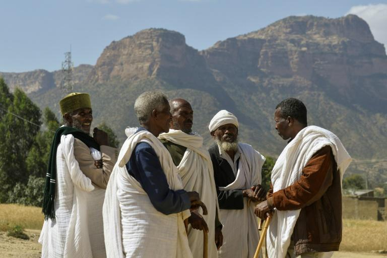 Abiy accepted a 2002 UN boundary ruling that would split the ethnic Irob community in two. Here elders from both sides hold a reconciliation meeting (AFP Photo/MICHAEL TEWELDE)