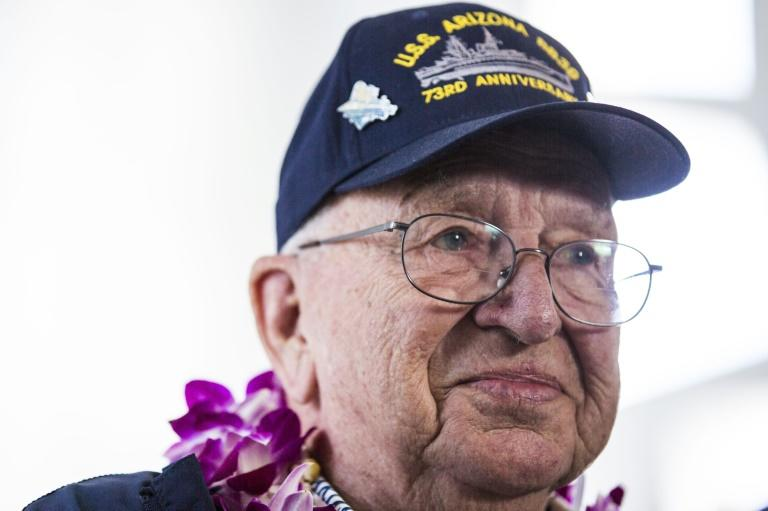 Lauren Bruner, who was among the last sailors rescued from the USS Arizona as it exploded into flames and sank, died in September at age 98 (AFP Photo/Kent Nishimura)