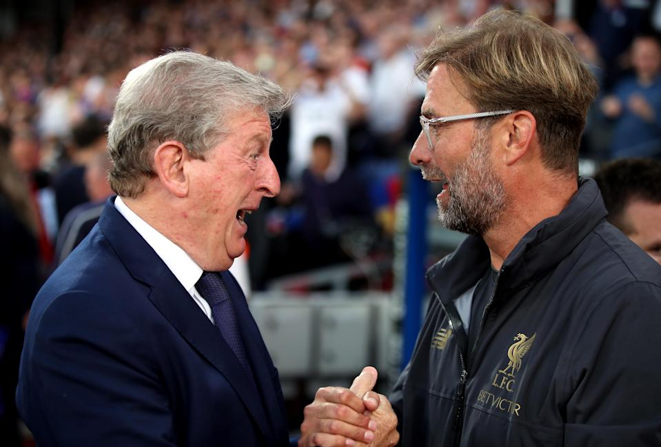 Crystal Palace manager Roy Hodgson (left) and Liverpool manager Jurgen Klopp.