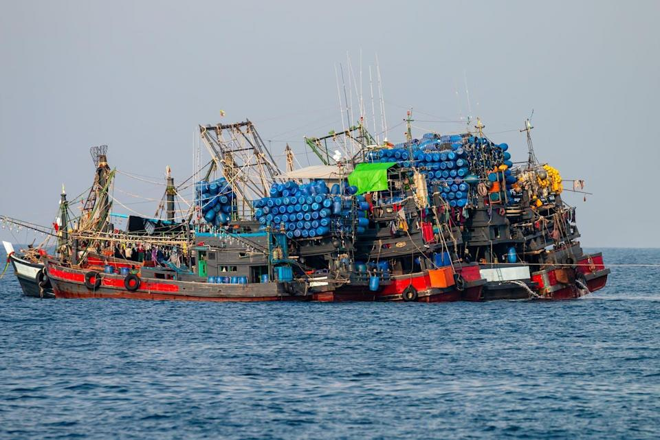 """<span class=""""caption"""">Industrial fishing trawlers stocking up on unsustainable quantities of fish.</span> <span class=""""attribution""""><span class=""""source"""">(Shutterstock)</span></span>"""