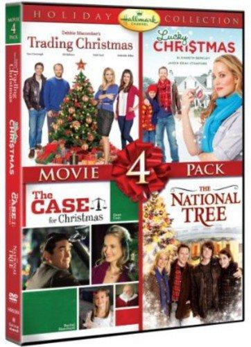 dvd cover of four hallmark christmas movies including trading christmas lucky christmas the case for christmas and the national tree