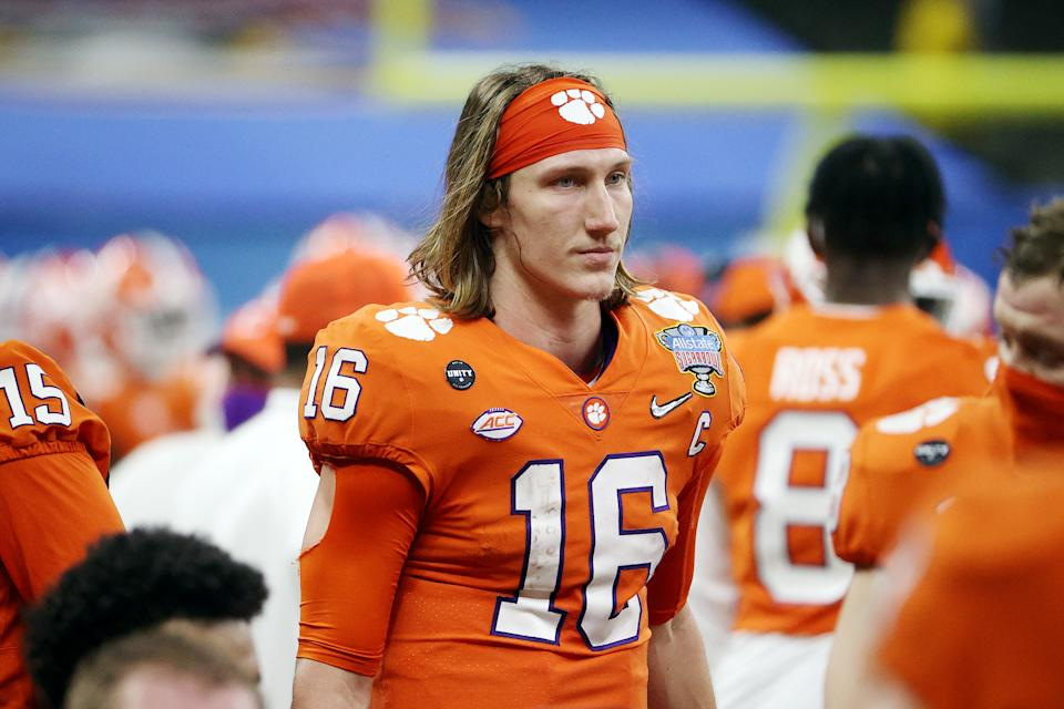 NEW ORLEANS, LOUISIANA - JANUARY 01: Trevor Lawrence #16 of the Clemson Tigers looks on in the second half against the Ohio State Buckeyes during the College Football Playoff semifinal game at the Allstate Sugar Bowl at Mercedes-Benz Superdome on January 01, 2021 in New Orleans, Louisiana. (Photo by Chris Graythen/Getty Images)