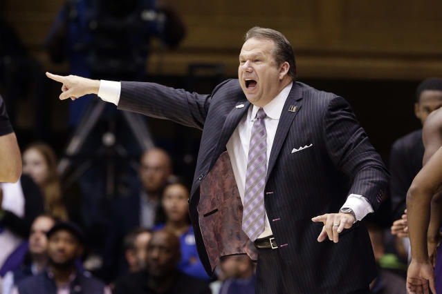 Stephen F. Austin head coach Kyle Keller directs his players during the first half of an NCAA college basketball game against Duke in Durham, N.C., Tuesday, Nov. 26, 2019. (AP Photo/Gerry Broome)