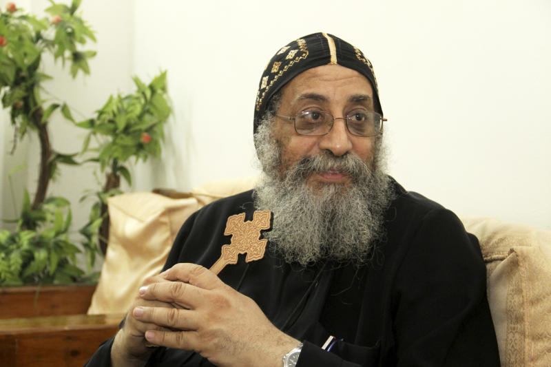 In this Friday, Nov. 2, 2012 photo, Bishop Tawadros speaks with reporters in Cairo, Egypt. Egypt's ancient Coptic Christian church named a new pope on Sunday, chosen in an elaborate ceremony where a blindfolded boy drew the name of the next patriarch from a crystal chalice. Bishop Tawadros will be ordained Nov. 18 as Pope Tawadros II. He will be the spiritual leader of a community that increasingly fears for its future amid the rise of Islamists to power in the aftermath of last year's uprising. (AP Photo/Sami Wahib)