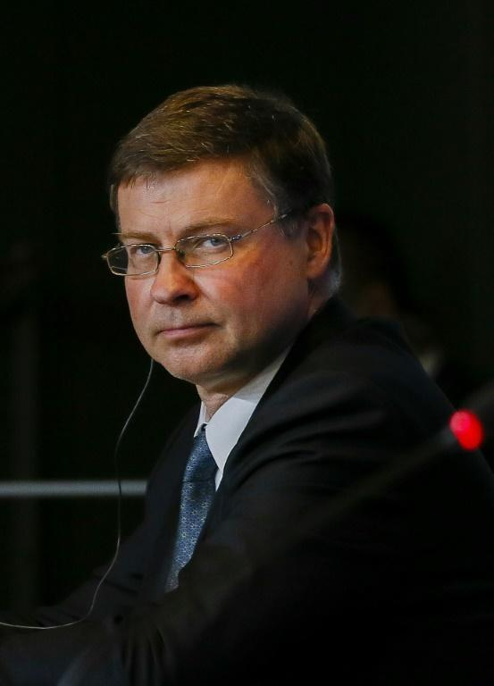 The European Commission's Valdis Dombrovskis stressed the need to reform the WTO to deal with China (AFP/JULIEN WARNAND)