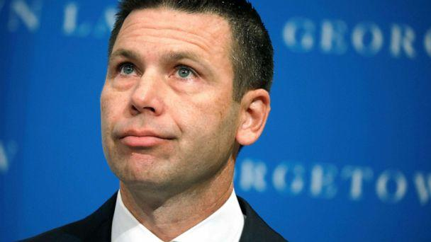 PHOTO: Acting Department of Homeland Security (DHS) Secretary Kevin McAleenan reacts while demonstrators interrupt his remarks at the Migration Policy Institute annual Immigration Law and Policy Conference in Washington D.C., Oct. 7, 2019. (Yuri Gripas/Reuters)