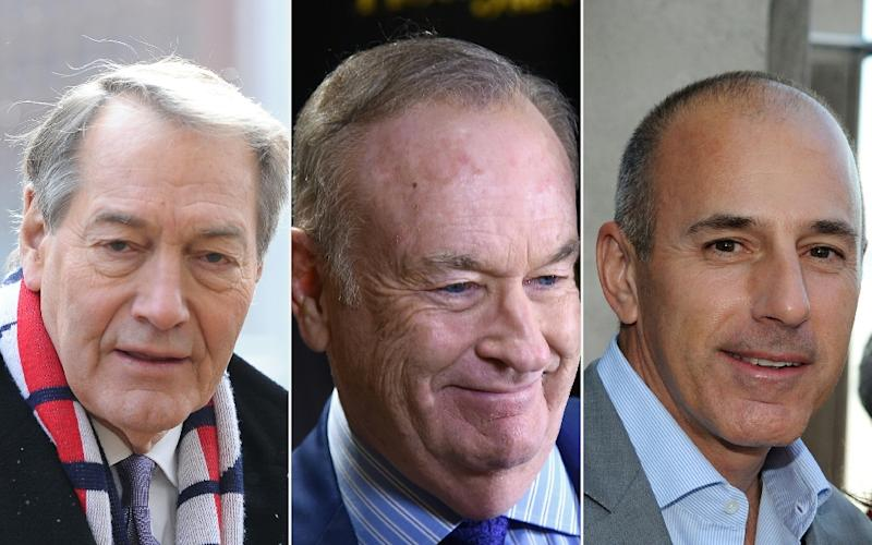 TV stars Charlie Rose, Bill O'Reilly and Matt Lauer (left to right) were all felled by sexual harassment scandals (AFP Photo/Ilya S. Savenok, Rommel DEMANO)