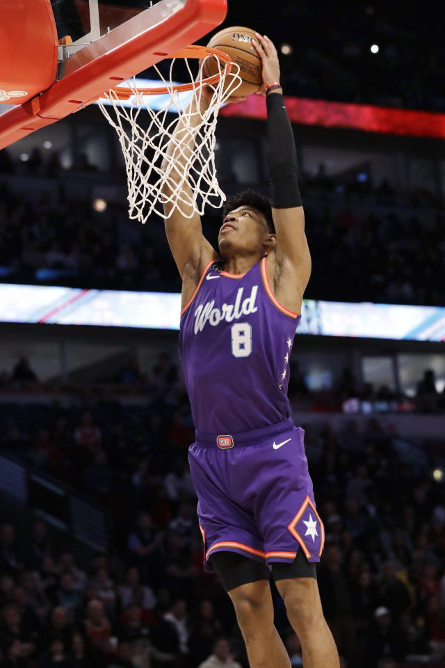 World forward Rui Hachimura, of the Washington Wizards, goes up for a dunk against the U.S. in the first half of the NBA Rising Stars basketball game in Chicago, Friday, Feb. 14, 2020. (AP Photo/Nam Y. Huh)