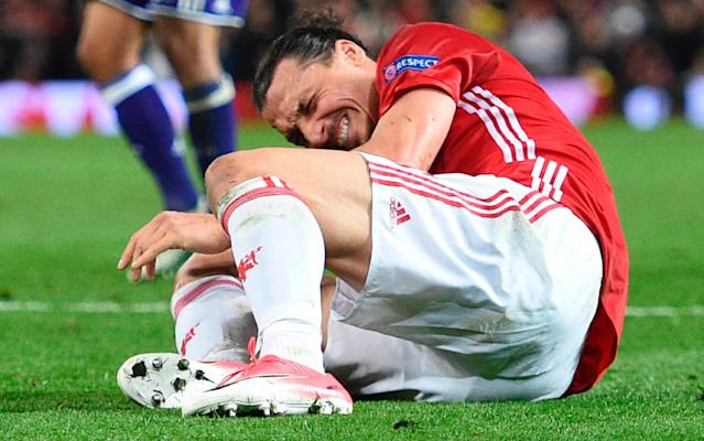 <span>Ibrahimovic sustained the injury during United's Europa League defeat of Anderlecht</span> <span>Credit: Getty Images </span>