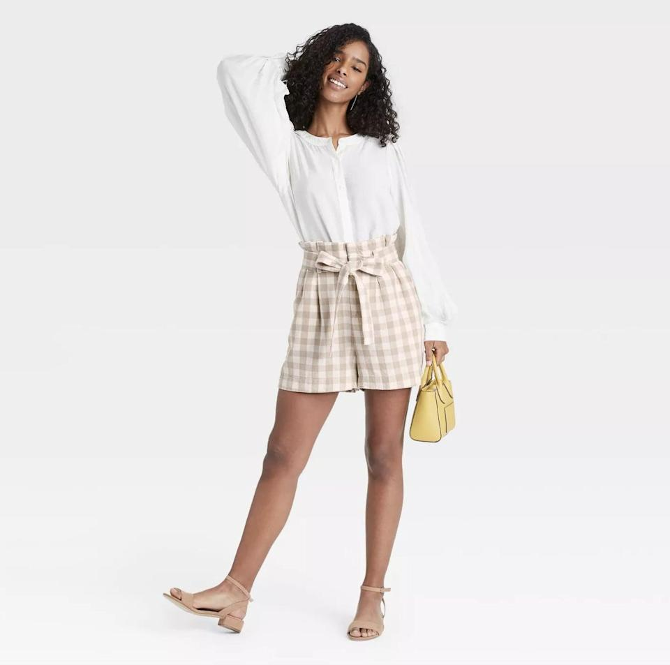<p>There are so many ways to dress up <span>A New Day High-Rise Paperbag Shorts</span> ($25) this spring, but heeled sandals are practically a must-do.</p>