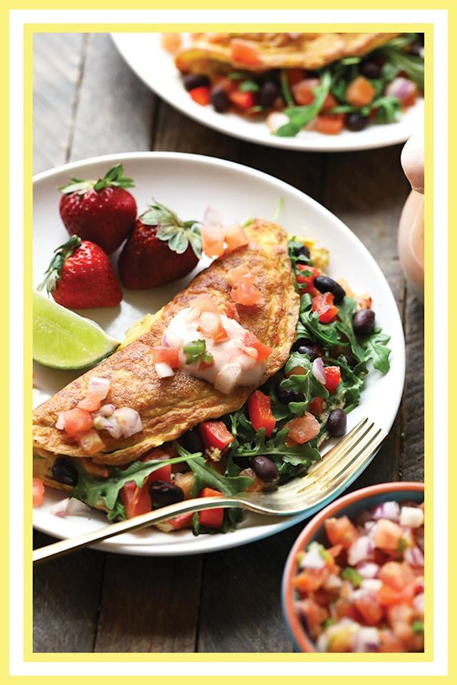 "<p>Not eating enough veggies? This omelette from <a href=""https://fitfoodiefinds.com/veggie-packed-black-bean-omelette"" target=""_blank"">Fit Foodie Finds</a> will solve that. Plus, eggs and black beans provide a huge protein boost to start your day. <br></p><p><a class=""body-btn-link"" href=""https://fitfoodiefinds.com/veggie-packed-black-bean-omelette"" target=""_blank"">GET THE RECIPE</a></p><p><em>Per serving: 330 cals, 26 g fat, 8 g carbs, 3 g fiber, 17 g protein. </em></p>"