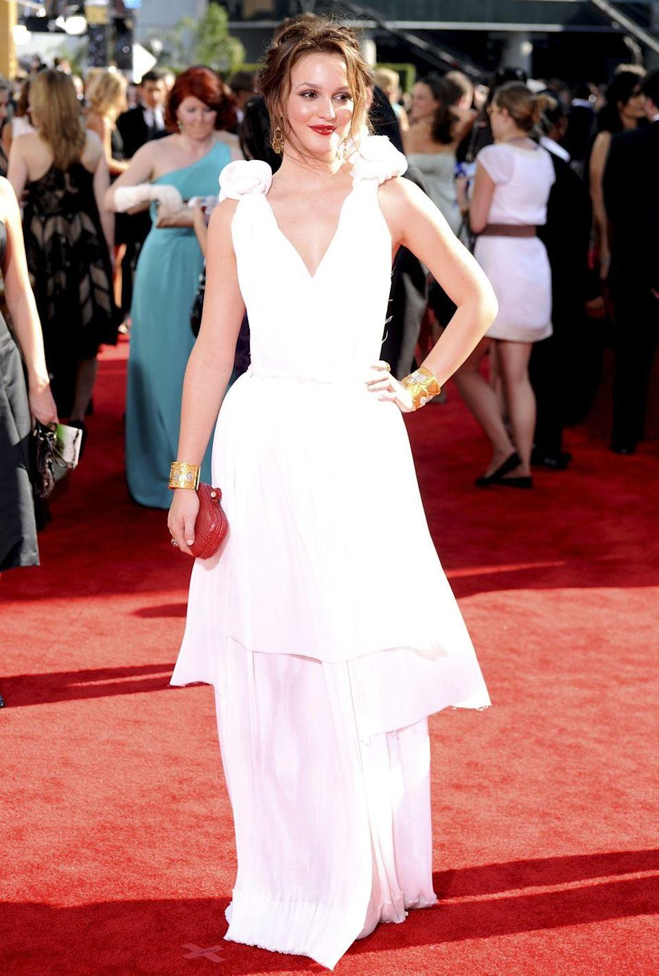 <p>Blair Waldorf would have been proud of the white gown Meester wore to the Emmy Awards in 2009. </p>