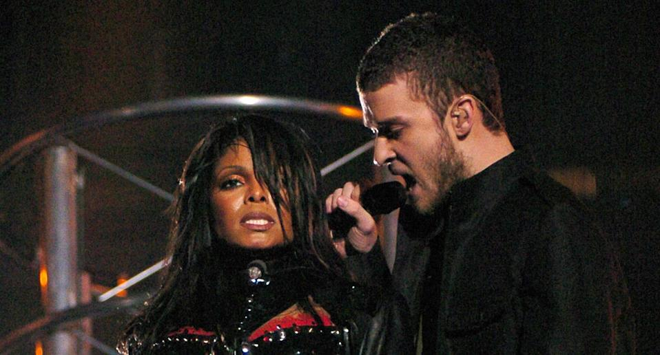 Janet Jackson and Justin Timberlake at Super Bowl XXXVIII Halftime Show. (Wireimage)