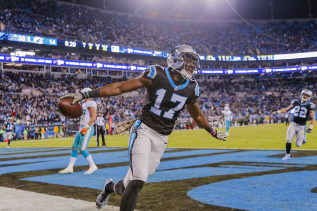 Carolina Panthers' receiver Devin Funchess directed a military salute toward the crowd following the first of his two touchdown catches in Monday night's 45-21 win over Miami. (AP Photo/Bob Leverone)