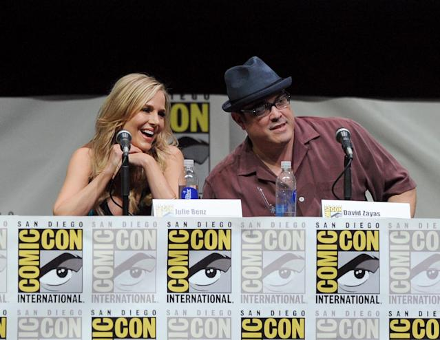 "SAN DIEGO, CA - JULY 18: Actors Julie Benz (L) and David Zayas speak onstage at Showtime's ""Dexter"" panel during Comic-Con International 2013 at San Diego Convention Center on July 18, 2013 in San Diego, California. (Photo by Kevin Winter/Getty Images)"