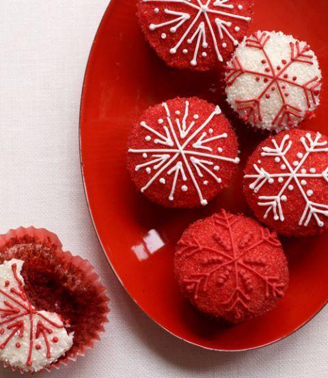 """<p>Cozy up to a romantic wintry night on Valentine's with these red velvet cupcakes, topped with cream cheese frosting and glittery sugar.</p><p><a href=""""https://www.goodhousekeeping.com/food-recipes/a14139/red-velvet-cupcakes-recipe-125158/"""" rel=""""nofollow noopener"""" target=""""_blank"""" data-ylk=""""slk:Get the recipe for Red Velvet Cupcakes »"""" class=""""link rapid-noclick-resp""""><em>Get the recipe for Red Velvet Cupcakes »</em></a></p>"""