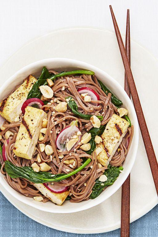"""<p>Grilled tofu is nowhere near as slimy as the chunks you find at the salad bar. Toss it with soba noodles, spinach, ponzu sauce and who knows? You may just consider vegetarianism. </p><p><em><a href=""""https://www.goodhousekeeping.com/food-recipes/a33581/soba-salad-with-grilled-tofu-recipe/"""" rel=""""nofollow noopener"""" target=""""_blank"""" data-ylk=""""slk:Get the recipe for Soba Salad with Grilled Tofu »"""" class=""""link rapid-noclick-resp"""">Get the recipe for Soba Salad with Grilled Tofu »</a></em></p>"""
