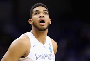 Karl-Anthony Towns could hear his name called first on June 25. (Andy Lyons/Getty Images)