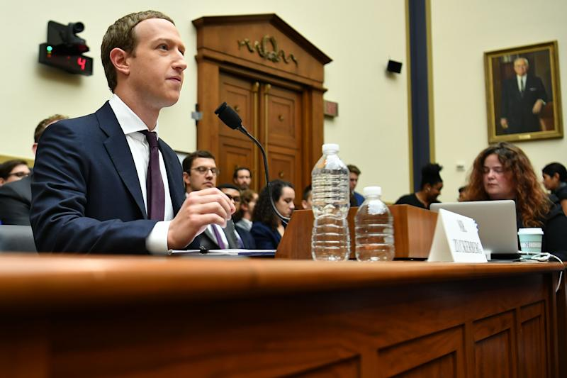 "Facebook Chairman and CEO Mark Zuckerberg testifies before the House Financial Services Committee on ""An Examination of Facebook and Its Impact on the Financial Services and Housing Sectors"" in the Rayburn House Office Building in Washington, DC on October 23, 2019. (Photo by MANDEL NGAN / AFP) (Photo by MANDEL NGAN/AFP via Getty Images)"
