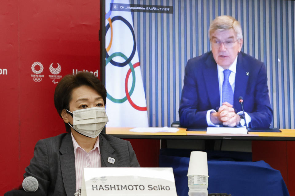 Seiko Hashimoto, president of Tokyo 2020 and IOC president Thomas Bach during today's meeting about spectators at this summer's Olympics