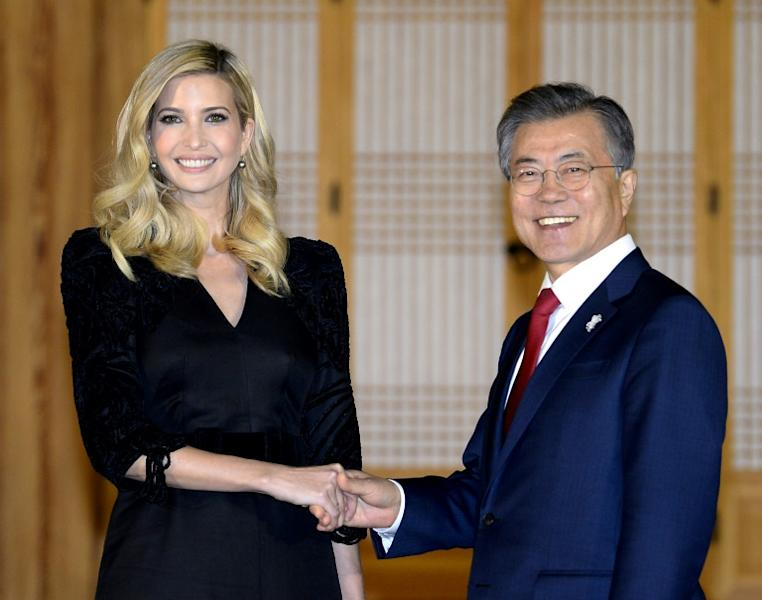 Ivanka Trump stressed the need to keep up 'maximum pressure' on the North while South Korean President Moon Jae-in said it was important to build on the current rapprochement