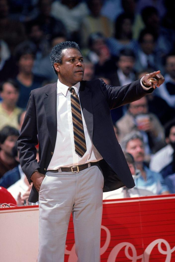 Head coach K.C. Jones of the Boston Celtics points during a NBA season game. K.C. Jones was the head coach of the Boston Celtics from 1983-1988. (Photo by Rick Stewart/Getty Images)