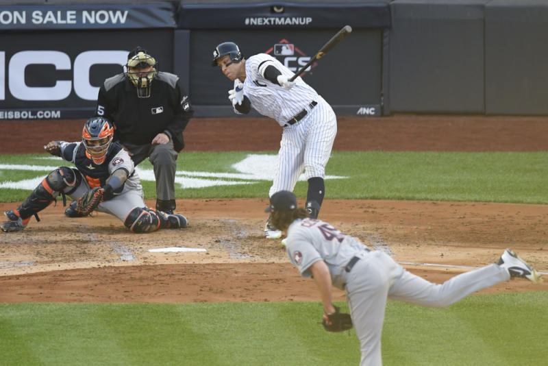 Oct 15, 2019; Bronx, NY, USA; Houston Astros starting pitcher Gerrit Cole (45) strikes out New York Yankees right fielder Aaron Judge (99) during the second inning in game three of the 2019 ALCS playoff baseball series at Yankee Stadium. Mandatory Credit: Robert Deutsch-USA TODAY Sports