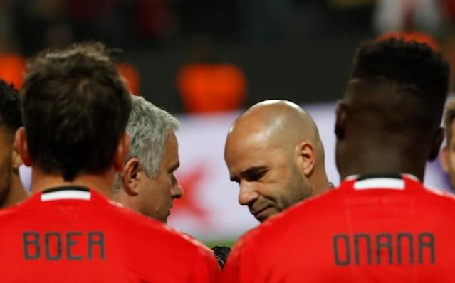 Manchester United's Jose Mourinho speaks with Ajax Dutch head coach Peter Bosz after their UEFA Europa League final on May 24, 2017 at the Friends Arena in Solna outside Stockholm (AFP Photo/Odd ANDERSEN)