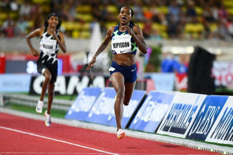 On track: Kenya's Faith Kipyegon outpaced Sifan Hassan of the Netherlands to win the 1500m in Monaco.