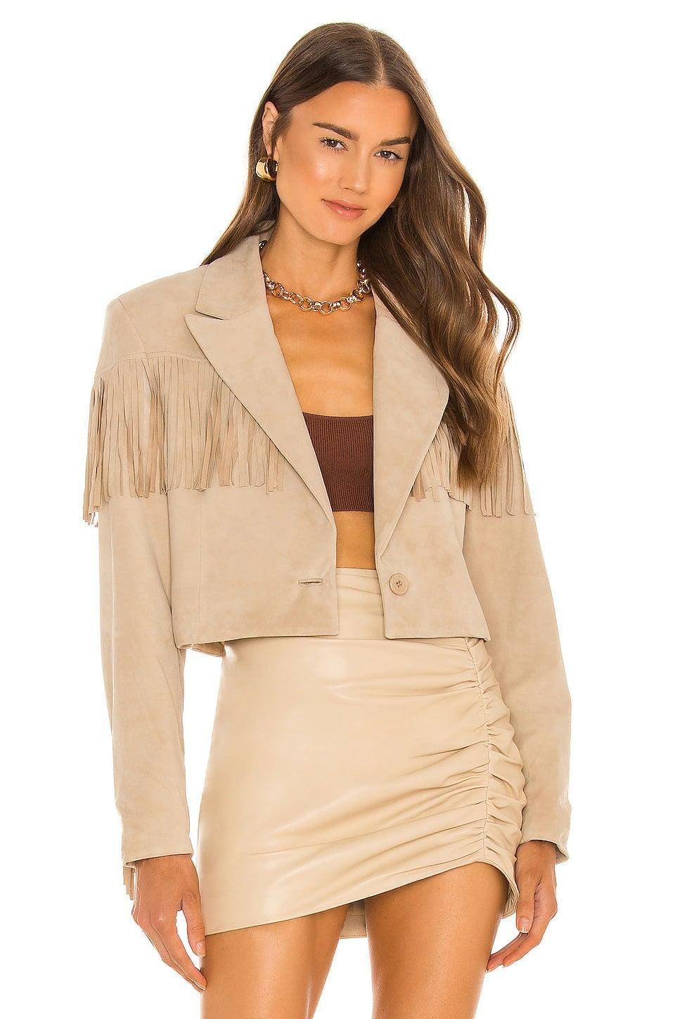 <p>This <span>Lamarque x Revolve Elwyn Suede Fringe Jacket</span> ($395) is a fun take on a fringe jacket. We like the cropped silhouette and exaggerated shoulder pads.</p>