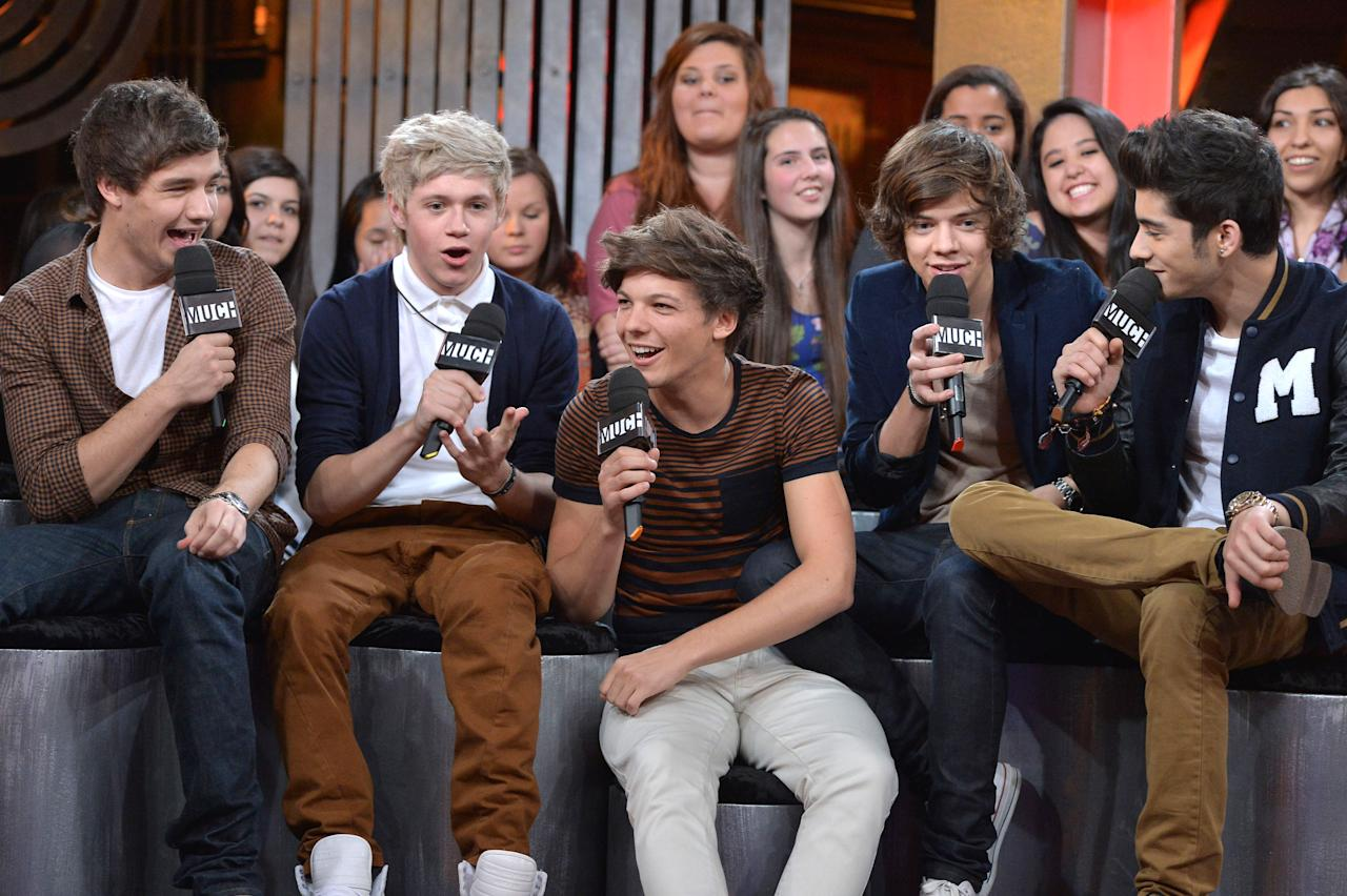 TORONTO, ON - MARCH 26:  Liam Payne, Niall Horan, Louis Tomlinson, Harry Styles and Zayn Mali from One Direction Visit MuchMusic on March 26, 2012 in Toronto, Canada.  (Photo by George Pimentel/Getty Images)