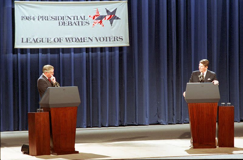 U.S. President Ronald Reagan and Democratic presidential candidate Walter Mondale are pictured during the first 1984 U.S. presidential election debate in Louisville