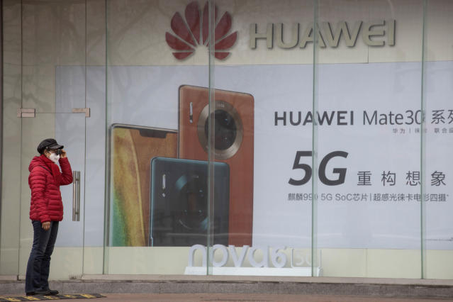 Earlier this week Huawei took out full page ads in most of Britain's major newspapers defending its role working on UK 5G. (Ng Han Guan/AP Photo)