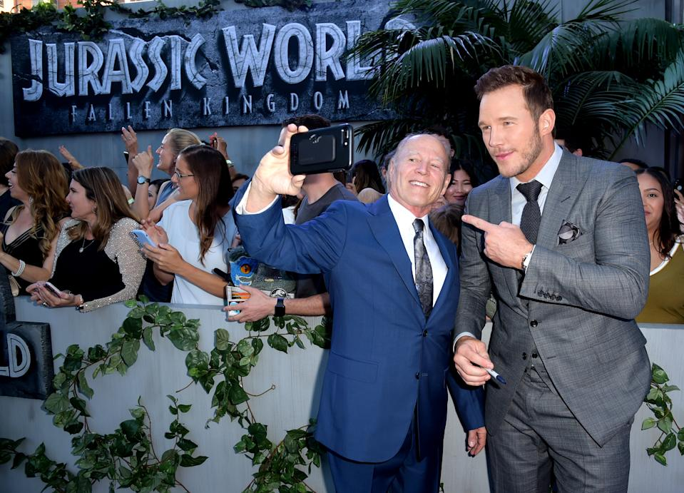 "LOS ANGELES, CA - JUNE 12:  Producer Frank Marshall (L) and actor Chris Pratt arrive at the premiere of Universal Pictures and Amblin Entertainment's ""Jurassic World: Fallen Kingdom"" at the Walt Disney Concert Hall on June 12, 2018 in Los Angeles, California.  (Photo by Kevin Winter/Getty Images)"