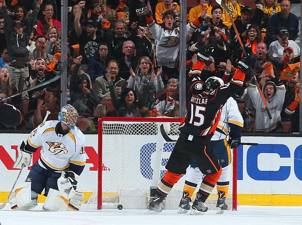 ANAHEIM, CA - MAY 14: Ryan Getzlaf #15 of the Anaheim Ducks celebrates a goal in the second period against Pekka Rinne #35 of the Nashville Predators in Game Two of the Western Conference Final during the 2017 NHL Stanley Cup Playoffs at Honda Center on May 14, 2017 in Anaheim, California. (Photo by Debora RobinsonNHLI via Getty Images)