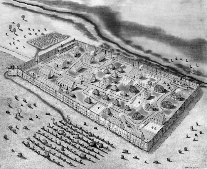 Conjectural drawing of St. Mary's Fort based on the geophysical survey. (Jeffrey R. Parno)