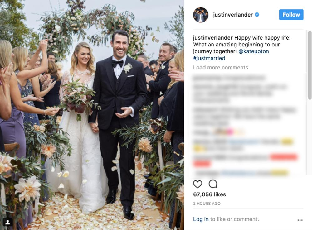 <p>Justin Verlander shared a photo from his wedding in Italy. (Photo via Justin Verlander/Instagram) </p>