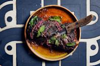 """Punch up your Passover lamb with black peppercorns, coriander, cinnamon, cardamom, cloves, nutmeg, and tangy sumac. <a href=""""https://www.epicurious.com/recipes/food/views/slow-roast-spiced-lamb-shoulder-with-sumac-onions?mbid=synd_yahoo_rss"""" rel=""""nofollow noopener"""" target=""""_blank"""" data-ylk=""""slk:See recipe."""" class=""""link rapid-noclick-resp"""">See recipe.</a>"""