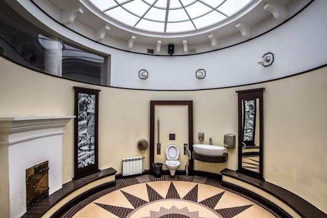<p>The interior of the historic public toilet at the Gorky Central Park of Culture and Leisure in Moscow. (Photo: Mladen Antonov/AFP/Getty Images) </p>