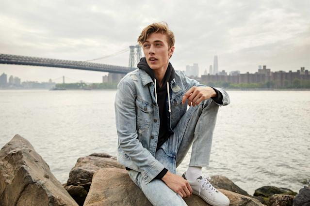 Lucky Blue Smith looks casual and cool in all blue denim for Express. (Photo: Courtesy of Express)